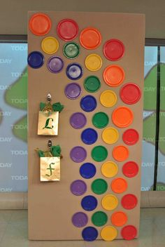 Different size/color paper plates.  Great for International Dot Day.