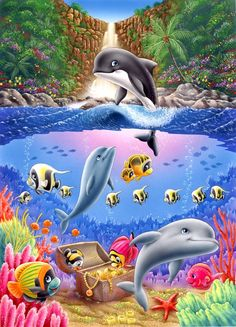 Детско- позитивное от Lorella Flamini. — Сундучок Sea Animals Images, Dolphin Art, Sea Life Art, Cute Whales, Art Drawings For Kids, Cute Turtles, Water Animals, Ocean Creatures, Cute Cartoon Wallpapers