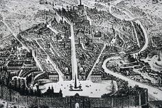 Rome from the Piazza del Popolo (18th century engraving). In 1585 Pope Sixtus V introduced a plan for the urban transformation of Rome that was based on a series of grand avenues connecting the prominent religious landmarks of the city. There was no longer a single main focus, as in the Renaissance, but a multitude of foci.