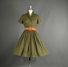 Vintage 1950s Dress full skirt floral olive   #Vintage #Fashion #Dress #Clothing
