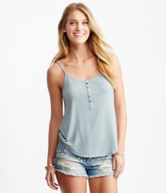 Solid Ribbed Henley Tank