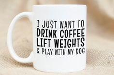Coffee Weights Dog Mug  Funny Mug  Dog Pet Mug by MischiefMugs