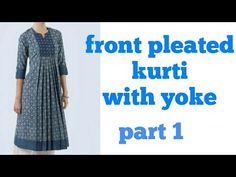 Front pleated kurti with yoke Churidar Neck Designs, Kurta Neck Design, Kurta Designs Women, Kurti Patterns, Designer Blouse Patterns, Dress Sewing Patterns, Designer Dresses, Dress Neck Designs, Blouse Designs