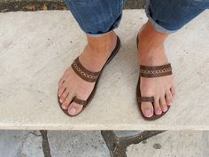 Men Leather Sandals Fully Customizable. by GreekChicHandmades