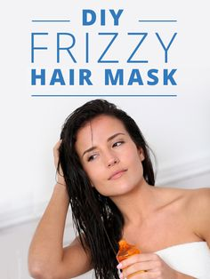 DIY Frizzy Hair Mask- works like a charm! Really good for curly hair. #diyhairmask #frizzyhairsolution