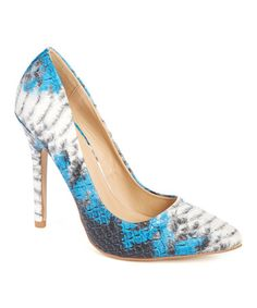 Loving this Blue Snake-Embossed Claire Pump on #zulily! #zulilyfinds
