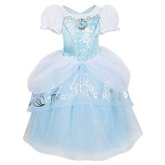 The latest in Fairy Godmother designs, our enchanting Cinderella costume will be an instant dress-up favourite! With a Bibbidi-Bobbidi-Boo, this glittering gown fulfils every dream with shimmering tulle, organza trims, and silver foil accents. Costume Princesse Disney, Disney Princess Costumes, Cinderella Costume Kids, Cinderella Dresses, Disney Dresses, Girls Dresses, Costume Collection, Dress Collection, Robes Disney
