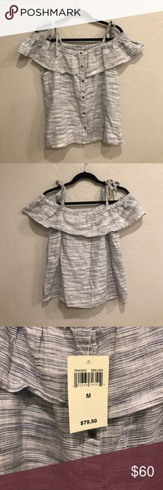 NWT Lucky Brand Cold Shoulder Button Up Shirt New with tags. This lovely shirt is 100% linen. So it's light and breathable. It's very on trend with the tied cold shoulders! The buttons are metal and very sturdy. Make an offer and add this lovely top to your wardrobe! Lucky Brand Tops