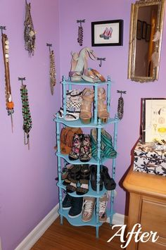 DIY Shoe Tower!  See more www.lauriebstyle.com