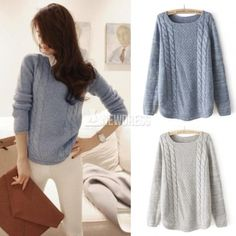 Ladies Weaving Pure Color Pullover