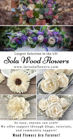 We are a small business that sells eco friendly sola wood flowers for weddings, home decor, and DIY. Wood flowers are soft and look very real. Sola Wood Flowers, Paper Flowers Diy, Flower Crafts, Diy Crafts For Kids, Fun Crafts, Paper Crafts, Paper Flower Tutorial, Flower Arrangements, Wedding Flowers