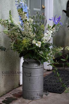 http://www.karenleahphotography.com/Weblog/?p=1902 Milk Can, Vintage Wedding, Purple flowers