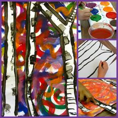 A perfect Fall or Winter birch tree art project. There are lots of variations to this lesson but kids love to paint the colorful backgrounds.