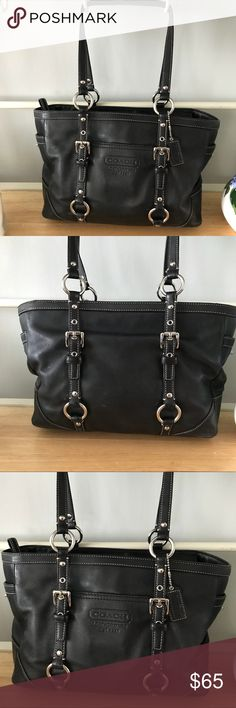 "Authentic Black Leather Coach Tote This is a beautiful bag and I've received compliments every time I carry it. I like an oversized bag so this one's a little bit too small for my taste but it is truly beautiful. I am selling for the same price I bought it for. Approximate measurements are 12"" x 8"" x5"" depth with 12"" adjustable strap drop. Coach Bags Totes"