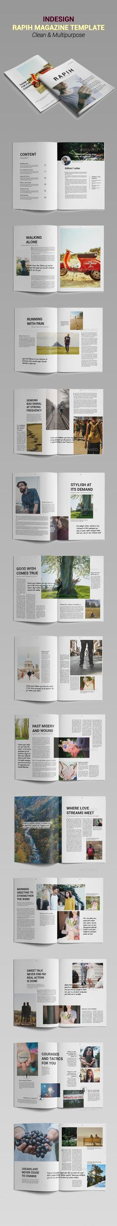 R a p i h Magazine Template InDesign INDD. Download here: http://graphicriver.net/item/r-a-p-i-h-magazine-template/16042767?ref=ksioks