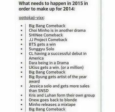 LOL i love this. WE GOT THE BIGBANG COMEBACK THO YAY!! And I agree to the Luhan and Kris one so much.