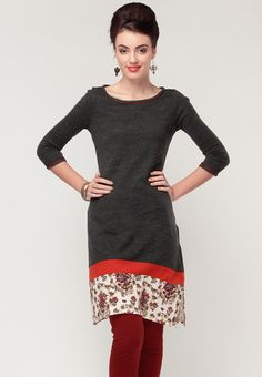 Black, and Red Casual Wear Tunic Designs, Kurta Designs Women, Indian Dresses, Indian Outfits, Indian Clothes, Kurti Patterns, Dress Patterns, Navratri Dress, Casual Dresses