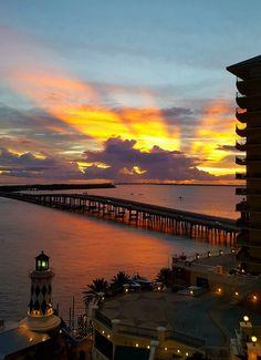 Sunset over Destin Harbor, courtesy of the Emerald Grande Destin Beach, Florida Home, Florida Beaches, Dream Vacations, Sunrise, Coast, America, Vacation Ideas, Sunsets