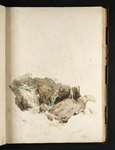 the fall of lodore 'Tweed and Lakes Sketchbook', Joseph Mallord William Turner, 1797 Joseph Mallord William Turner, Chiaroscuro, Artist Sketchbook, Guache, Landscape Drawings, Sketchbook Inspiration, Art Abstrait, Art Graphique, Art Sketches