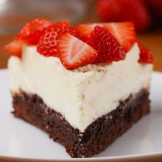 Strawberry Box Brownie Cheesecake Recipe by Tasty