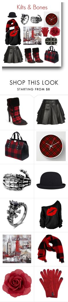 """""""Kilts & Bones"""" by yaschy ❤ liked on Polyvore featuring gx by Gwen Stefani, Mairi Mcdonald, Dsquared2, kangol, Ren-Wil, Accessorize, Barbour and Alexander McQueen"""