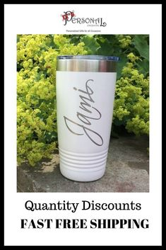Fast Free Shipping and Quantity Discounts means big savings for you! Your design laser engraved on our insulated tumblers means awesome gifts for them! Click now to see our 16 hot colors!   The entire Wedding Party is going to love them! #BridesmaidsGifts #CustomTumblers #WeddingPartyGifts  Gift for Maid of Honor, Gift for Mother of the Bride, Jr Bridesmaids Gift, Inexpensive gift for officiant, Wedding usher gift, Flower girl gift, insulated tumbler, name on travel mug, personalized cup