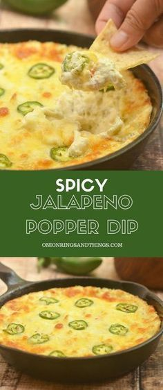 Cheesy Jalapeno Popper Dip made of cream cheese diced green chilies shredded cheese and fresh jalapenos is the ultimate party appetizer! Cheesy creamy and with just the right amount of kick this cream cheese dip is absolutely addicting! Jalapeno Popper Dip, Bacon Jalapeno Poppers, Chili Cheese Dips, Jalapeno Sauce, Cheese Food, Cheese Dishes, Nacho Cheese, Sauces, Salads
