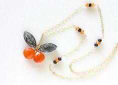 Halloween Gemstone Butterfly Necklace Black by LemonDreamHouse, $45.00