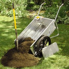 Mighty Mule Foldable Garden Cart from Just Pro Tools Australia. Because the front panel can be removed, the contents can be shovelled out instead of tipping the wheelbarrow all the way over to empty the contents. www.justprotools.com.au