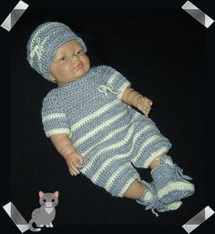 Crochet Rompers or Onesie for Newborn Baby Boy by MimisCrochetDen
