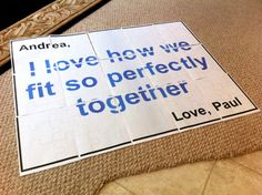 Paper Floor Puzzle ... fun date night idea... maybe put on the puzzle where to go or meet up at...