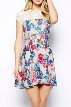 #6ks Lace Splicing Floral Printing Fashion Dress
