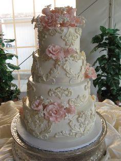 White Wraught Iron  Signature Cakes by Vicki