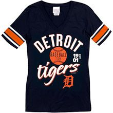 Detroit Tigers Women's Athletic Stripes Half Sleeve T-Shirt by 5th & Ocean