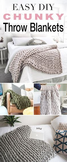 Easy DIY Chunky Throw Blankets! • See how affordable and easy these are to make yourself with these great tutorials and DIY projects from talented bloggers! #DIY #ArmKnitting #DIYChunkyBlankets #DIYThrowBlankets #Hygge  #DIYArmKnittedProjects #GiantKnitting