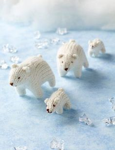 Free Knitting Pattern for Polar Bear Teeny Toys - This tiny bear family was designed by Sachiyo Ishii from the collection Mini Knitted Safari. Adult: 7cm (2¾in) long, 5cm (2in) high Cub: 5cm (2in) long, 3cm (1¼in) high