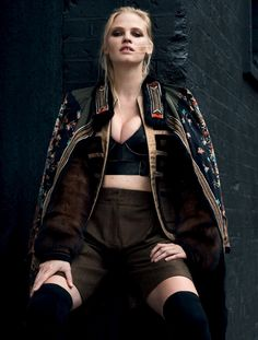 Lara Stone poses in embellished jacket, bra top and shorts for Vogue Turkey October 2016 editorial