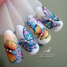 Having short nails is extremely practical. The problem is so many nail art and manicure designs that you'll find online Hot Pink Nails, Bright Nails, Love Nails, Pretty Nails, Butterfly Nail Designs, Butterfly Nail Art, Elegant Nail Designs, Nail Art Designs, Glam Nails
