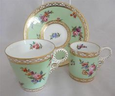 Beautiful Antique Tea Cup Coffee Cup and Saucer Trio Hand painted flowers