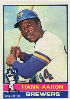 1976 Topps Hank Aaron Milwaukee Brewers Baseball Card for sale online Old Baseball Cards, Baseball Star, Braves Baseball, Baseball Players, Baseball Wall, Baseball Photos, Basketball Cards, Mlb, Hank Aaron