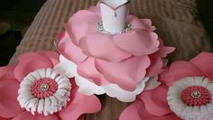 Pink and White paper ballerina/flower set!