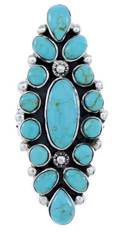 $131.99      Sterling Silver Turquoise Southwestern Ring Size 9-1/4 Jewelry DW72384