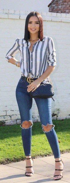 Moda Femenina Casual Verano Jeans Ideas For 2019 Jean Outfits, Casual Outfits, Cute Outfits, Fashion Outfits, Womens Fashion, Outfit Jeans, Sweater Outfits, Outfits Con Camisa, How To Wear Shirt