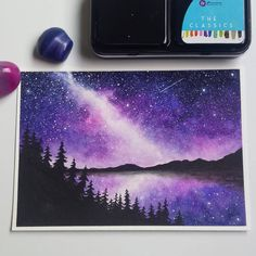 Forest Fox ・・・ Here is one more milky way painting. This one inspi… Forest Fox ・・・ Here is one more milky way painting. This one inspired by the night sky over Lake Superior. Watercolor Night Sky, Prima Watercolor, Night Sky Painting, Watercolor Galaxy, Watercolor Paintings, Night Sky Drawing, Galaxy Painting Acrylic, Watercolor Ideas, Cute Canvas Paintings