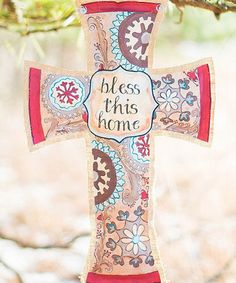 Look what I found on #zulily! 'Bless This Home' Cross Burlap Art, $30 !!  #zulilyfinds