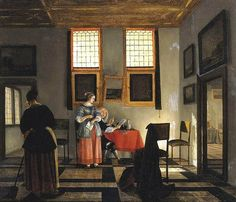 Pieter Janssens Elinga - Interior with a seated husband, his wife, and a maid (1670)