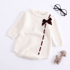 50a864dfbade Kiskissing Knitted Bowknot Long Sleeves Baby Girls Romper Onesies Bodysuit  Wholesale Available colors  white
