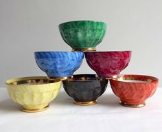 Small French porcelain bowls  a set of 6 in bright by MaisonMaudie
