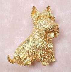 Trifari Gold Tone Scottie or Westie Terrier Dog Brooch