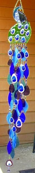 Peacock Stained Glass Wind Chimes [Awesome windchime designs from this sit. You can commission orders, too ;) Mo]